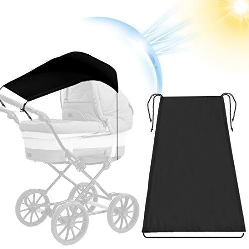 Toldo Silla De Paseo, Parasol Cochecito Bebe, Toldo Cochecitos, Toldo silla paseo, Toldo Protección Solar Universal, para Cochecitos Capazos ajustable Protección Solar UV 50+, negro