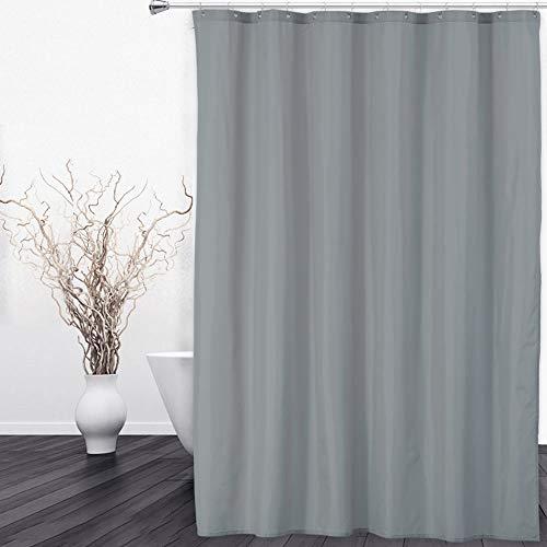 Cortina de ducha o forro de tela 100% impermeable de calidad de hotel para baño con ojales de metal inoxidables, dobladillo con peso, 72 x 72 pulgadas, poliéster, Gris, 180 x 180 cm