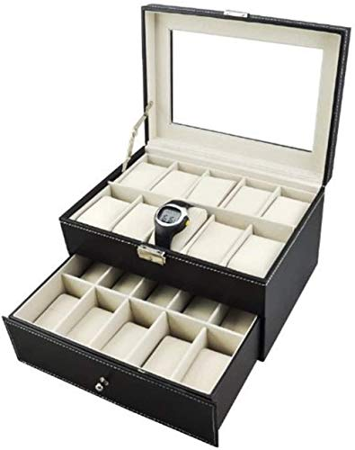 Caja de reloj de cuero con pantalla de cristal grande para hombre, organizador de joyas (20 ranuras)