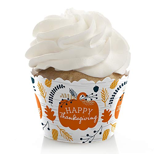 Big Dot of Happiness Happy Thanksgiving - Fall Harvest Party Decorations - Party Cupcake Wrappers - Set of 12