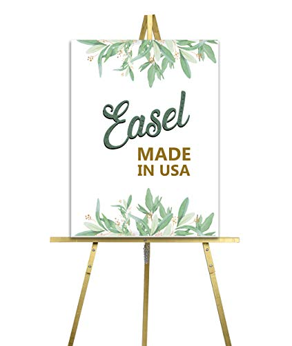 Lucia and Luciana Wooden Wedding Easel for Welcome Sign, Floor Standing Easel Stand for Display, Choose from Natural Wood, Gold, Rose Gold, Silver, White or Black, 65 inches, Made in The USA