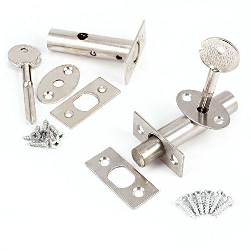 2 set Cerradura Picaporte tubular inoxidable para puertas + tornillos + Llaves Security Door Bolts