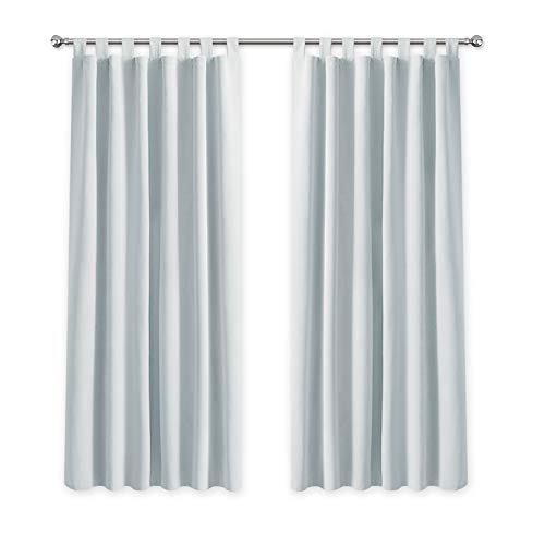 PONY DANCE Room Darkening Curtains - 55 x 68-inch(140 x 175 cm) Solid Thermal Insulated Blackout Tab Top Bedroom Decorative Curtain Panels, Set of 2 Pieces, Grayish White