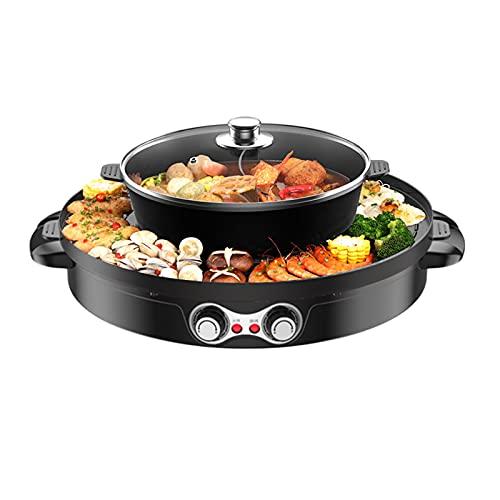 Hot Pot BBQ - Barbecue elettrico 2 in 1, 1200 W, doppia separazione coreana, 44 cm, con rivestimento in ceramica, per 5-8 persone