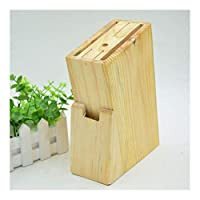 キッチンナイフステーキナイフ果物ナイフはさみキッチン、6つのスロットナイフブロックシートボックスの木材空ナイフホルダー 1003