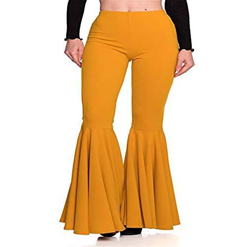 Hhckhxww Pantalones De Campana Plisados De Moda Casual De Cintura Alta De Sirena para Mujer