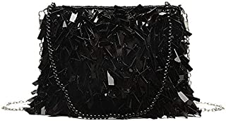 TOOGOO Sequined Diamond Small Square Bag Beaded Handbag Chain Shoulder Slung Female Bag White