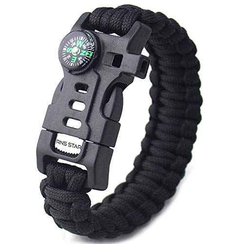 RNS STAR 5-in-1 Tactical Bracelet. Survival Bracelet with Paracord Rope, Fire Starter, Compass, Emergency Whistle & Knife. (Black-R_5in1)