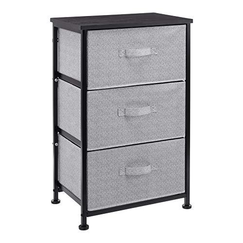 AmazonBasics Unidad de almacenamiento, de tela, con 3 cajones, para armario, negro
