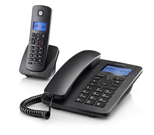 Motorola C4201 Combo - Teléfono Fijo Digital DECT + Teléfono Inalámbrico - Manos Libres y Pantalla retroiluminada