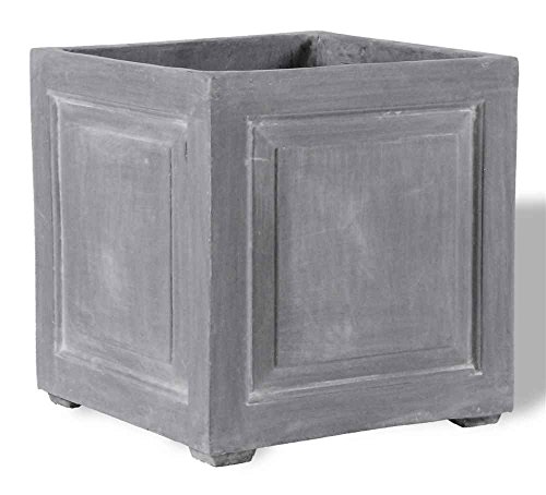 Amedeo Design ResinStone 2514-2C Recessed Panel Square Planter, 18 by 18 by 18-Inch, Charcoal