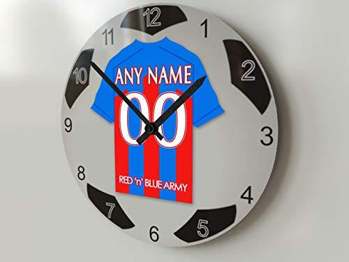 FanPlastic EPL Premier League Fußball-Uhr, groß, Design für alle Teams, Fußball-Uhrwerk !, Crystal Palace FC Wanduhr, groß