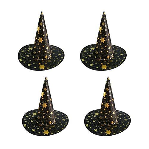 NUOBESTY 4 Stück Halloween Hexenhüte schwarzer Stern Hexenkostüm Hüte für Kinder