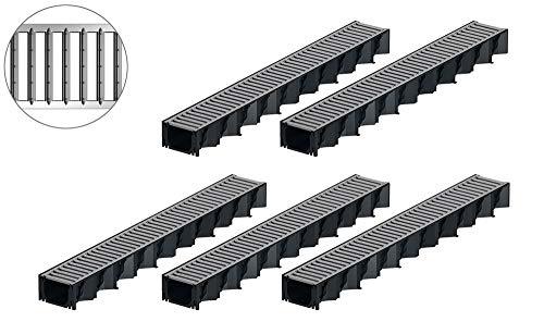 5x1m ACO Hexaline 2.0 Entwässerungsrinne Stegrost Stahl verzinkt Bodenrinne Terrassenrinne