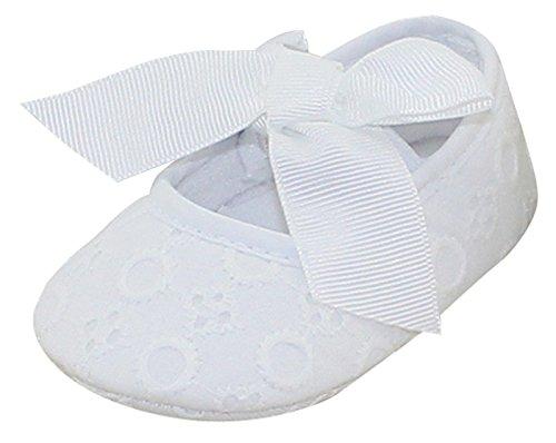 Aivtalk Baby Mädchen Taufschuhe Mary Jane Schuhe Babyschuhe Krabbelschuhe mit Schleife Kleine Prinzessin - Weiß 12cm