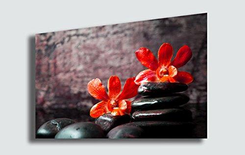 Quadro Moderno FIORI Orchidea Rossa Zen Benessere Estetica Fiore Cucina Soggiorno Camera da letto Quadri Moderni Stampa su Tela Canvas (70x100 cm)