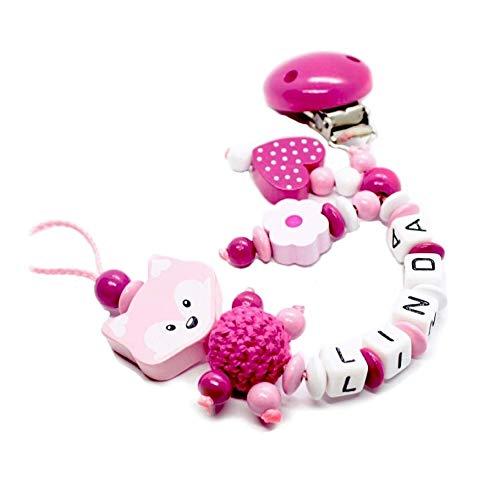 Schnullerkette mit Namen für Junge & Mädchen | VIELE INDIVIDUELLE MODELLE | Personalisierte Nuckelkette mit Wunschnamen (fuchs, rosa, herz, blume)