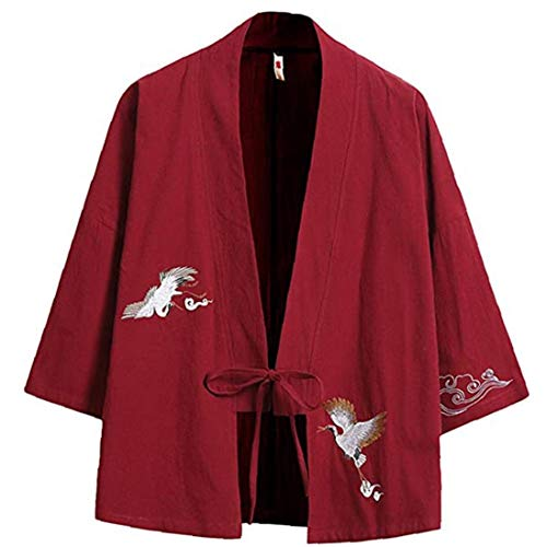 Ohomr Hombres de algodón Mezcla de Lino Frente Abierto Cardigan Bordado del Kimono de Las Chaquetas Rojo 137 X-Grande