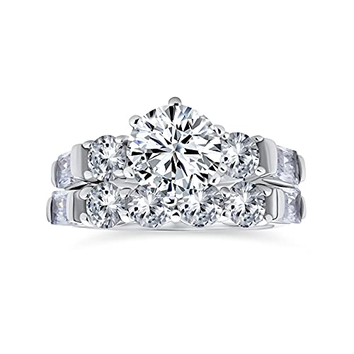 Classic Cathedral Setting 6 Prong Cubic Zirconia AAA CZ Round 2 CT Solitaire Anniversary Engagement Wedding Band Ring Set for Women .925 Sterling Silver