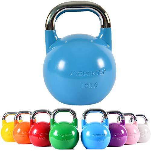 MSPORTS Kettlebell Competition 12 kg | Professional Studio Qualität | inkl. Übungsposter | Wettkampf Kugelhantel