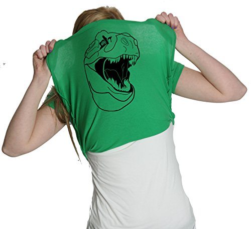 Womens Ask Me About My Trex T Shirt Funny Cool Dinosaur Flip Graphic Novelty Tee (Green) - M
