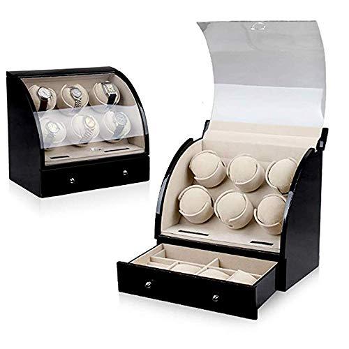 SCJ Enrolladores de Reloj Enrollador de Reloj automático de Madera para 6 Relojes Caja de Almacenamiento Caja de bobinado de exhibición, con cajón Enrollador de Reloj Ultra silencioso Box-A