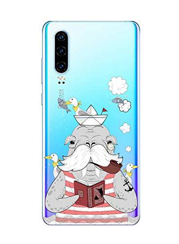 Suhctup Compatible con Huawei Honor Play Funda de Transparente Silicona con Dibujos Lindo Animados Animal Diseño Patrón Cárcasa Suave Flexible Ultrafina TPU Antigolpes Protección Caso, Animal Barbudo