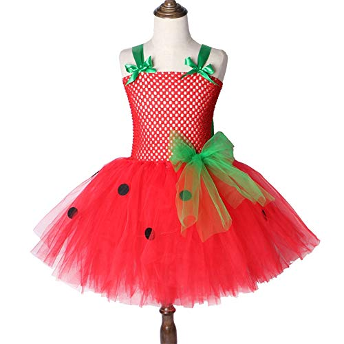 QWER Halloween Erdbeere Tutu-Kleid für Mädchen, Rot, Urlaub Kleid für Mädchen, Kinder-Kostüm für, Weihnachten, von 2 bis 12 Jahre alt,Red,67Y