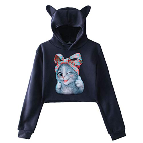 CommittedeDamen Herbst und Winter 3D Katzendruck Sweatshirt Einfarbiger Langarmpullover Kurzsatz Langarm-T-Shirt mit Kapuze Pullover Lässiger Sport Sweatshirt