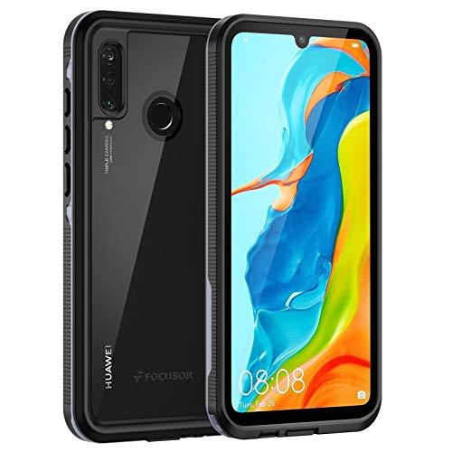 Focusor Cover Huawei P30 Lite,Custodia P30 Lite Impermeabile[IP68 Certificato Waterproof] Cover Slim Antiurto Antineve Antipolvere AntiGraffio Subacquea Protettiva Caso per Huawei P30 Lite(Nero)