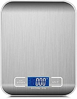 ميزان مطبخ رقمي رفيع للاستخدامات المنزلية ولوزن اطعمة الحمية الغذائية مع شاشة LCD ويزن حتى 5 كغم × 1 غرام