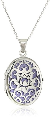 """Italian Sterling Silver and Purple Lotus Flower Locket Necklace, 18"""""""