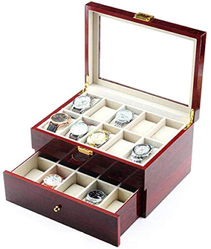HJ Inicio Caja de reloj de joyería Cajas Hombre Mujer Viaje Regalo tirón Tragaluz 20 de pulverización de madera caja de almacenamiento de pulsera 29,5 * 21,5 * 16cm