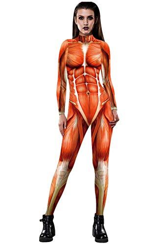 URVIP Skelett Overall Damen Knochen Skeleton Halloween Kostüm Bodysuit Anzug Karneval Fasching BAX-062 L