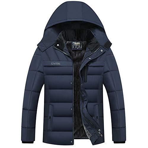 Cappotto Invernale da Uomo in Cotone Imbottito Giacca Termica in Velluto con Colletto alla Coreana Cappotto Esterno Addensato,Blue,2XL