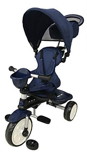 Mondial Toys Triciclo 4in1 con MANIGLIONE DIREZIONABILE E CAPPOTTINA Parasole 7811 Blu
