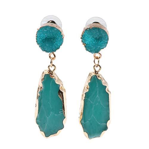 niumanery Pendientes de Gota de Piedra Brillante de Resina Joyas de Cristal de Cuarzo de imitación Irregular Azul