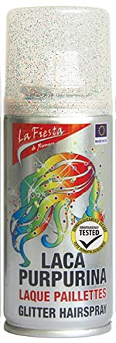 GREEN WICH Lacas de Color para pelo. Spray de colores variados para cabello, fiestas, eventos, carnavales y disfraces. (Mixto Purpurina)
