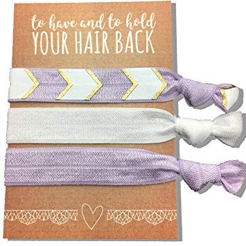 Mayde Ribbon Hair Ties, Hair Bands Party Favors Kit for Bachelorette or Bridal Parties (Purple, Pack of 6)