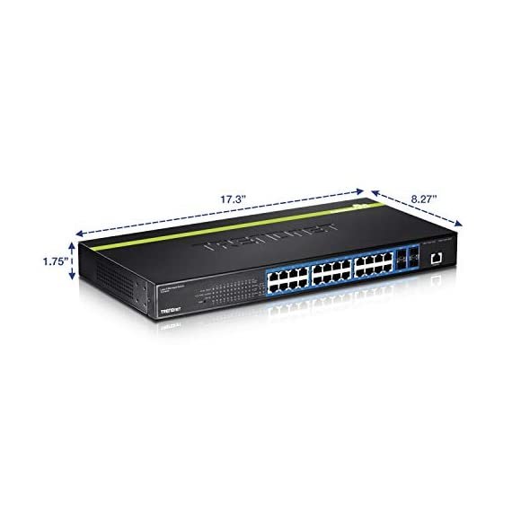 TRENDnet 24-Port Gigabit Layer 2 Switch with 4 Shared Mini-GBIC Slots, 48 Gbps Switching Capacity, SNMP, Lifetime… 3 ETHERNET PORT INTERFACE: 24 x Gigabit ports, 4 x 10G SFP+ SLots SWITCHING CAPACITY: This Ethernet switch allows for a 128Gbps switching capacity HIGH SPEED 10G SFP+: This gigabit switch offers four dedicated 10G SFP+ slots for high-speed network uplinks or downlink NAS / access server connections providing a cost-effective solution in adding 10G link capability to an SMB network.