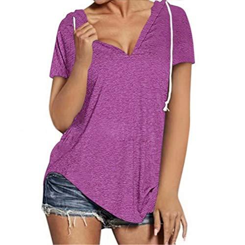 ZFQQ Camiseta Deportiva de Manga Corta Holgada con Cuello en V para Mujer de Primavera y Verano
