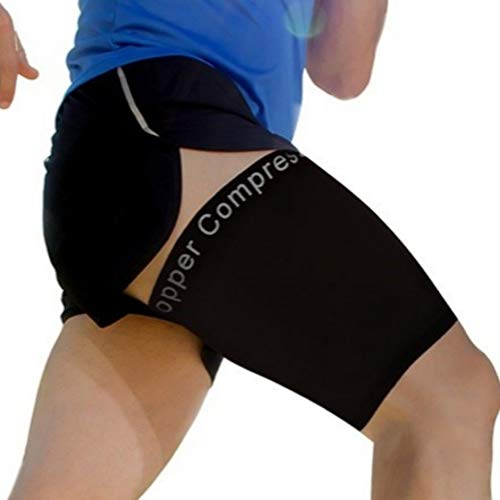 Copper Compression Recovery Thigh Sleeve, for Sore Hamstring, Groin, Quad Support. Guaranteed Highest Copper Content. Great for Running + All Sports. (1 Sleeve) Upper Leg Brace for Men + Women