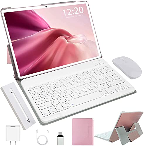 Tablet with Keyboard 10 Inch Android 10.0 Pie, 4GB RAM + 64GB ROM, Quad Core, Google GMS Certified, IPS HD Display, 8MP Dual Camera 8000mAh, WiFi (Rose Gold)