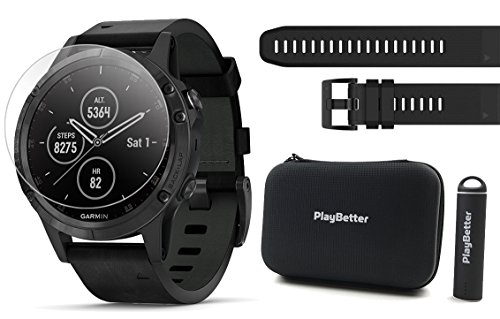 Buy Bargain Garmin fenix 5 Plus+ Sapphire Bundle | Extra Band, Screen Protectors, PlayBetter Portabl...