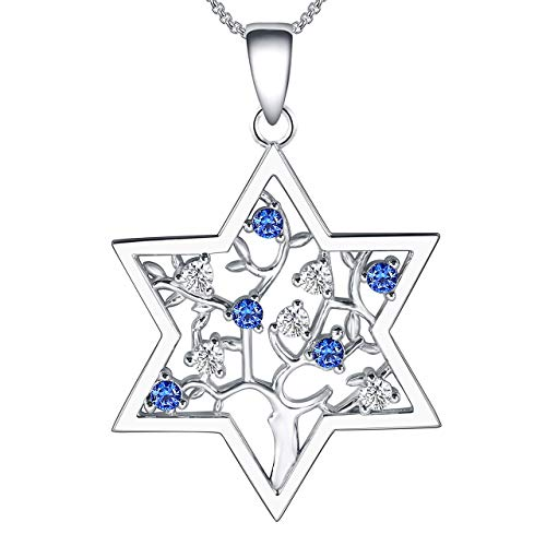 Jewish Necklace For Women Star Of David Tree Of Life Sterling Silver Cubic Zirconia Hannukah Valentine Mother's Day Christmas Bar Mitzvah Birthday Jewelry For Grandma Mom Daughter Sister Niece Best Friends Aunt Gifts
