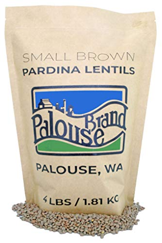 Small Brown Lentils • Pardina or Spanish Brown • 100% Desiccant Free • 4 lbs • Non-GMO Project Verified • 100% Non-Irradiated • Certified Kosher Parve • USA Grown • Field Traced • Resealable Kraft Bag