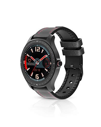 BlitzWolf Smartwatch, 1,3 Zoll Voll-Touchscreen IP67 wasserdichte Smartwatch Fitness Tracker Sportuhr Intelligente Armbanduhr mit Pulsmesser, Schrittzähler, Schlaf-Monitor für iPhone Android(Schwarz)