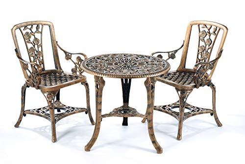 WML 3 Piece Rose Armchair Patio Set in Antique Bronze