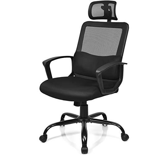 COSTWAY Kippbarer Bürostuhl mit Lendenwirbelstütze und Verstellbarer Kopfstütze, Höhenverstellbarer Computerstuhl mit Schaukelfunktion, Relaxsessel rollbar, Relaxstuhl bis 120kg belastbar