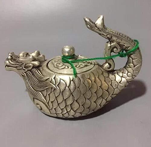 RSRZRCJ Figuritas Decorativas Esculturas De Cabeza Colección De Bustos Cobre Blanco Tallado Dragón Botellas De Pescado Botellas De VinoTeteras Estatuas De Animales Decoraciones para El Hogar